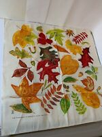 VINTAGE COTTON TEA TOWEL FALL LEAVES 1997 THE PRINTED IMAGE AQUATIQUE SF CA