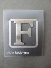 BOOKMARK Letter Initial F Alphabet Steel Clip On Gift Present Birthday Thankyou