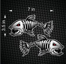 Digital Skeleton Fish Vinyl Decals for Boat Fishing graphics Bone sticker