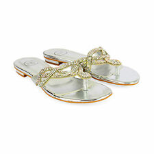 WOMENS LADIES LOW WEDGE HEEL DIAMANTE GEM EVENING MULES BRIDAL SANDALS SIZE