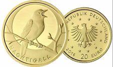 Deutschland 20 Euro 2016 Heimische Vögel Nachtigall 1/8 Oz Gold Mzz J