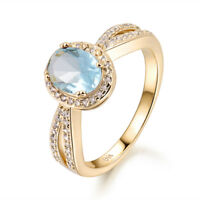 Elegant Light Blue Sapphire Aquamarine 18K Gold Filled Women Lady Wedding Rings