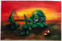 Vintage Wasted Dee Landerman Acrylic Air Brush Painting Retro Art Wall Hanging