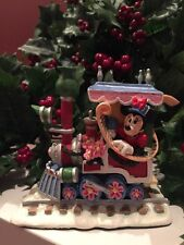 DISNEY MINNIE MOUSE as Engineer On Christmas Train Village Figure RARE