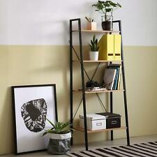 Industrial Style Bookcase Wood Metal Ladder Shelving Unit Vintage Display Stand