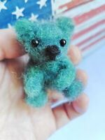 Needle Felted Animal little 1 teddy  bear Wool Art  mini Sculpture ooak gift -gr
