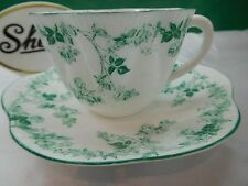 SHELLEY TRAILING GREEN ROSE VINE CUP AND SAUCER 12086/24  GREEN TRIM  -  RARE!
