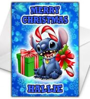 DISNEY STITCH Personalised Christmas Card - Lilo and Stitch Christmas Card - 002