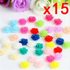 15pcs Colorful Resin Rose Flower flatback Appliques For DIY phone/craft