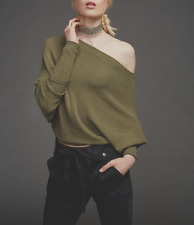 FREE PEOPLE OLIVE GREEN LONG SLEEVE OFF SHOULDER ROUNDED HEM MERCURY TOP Sz S