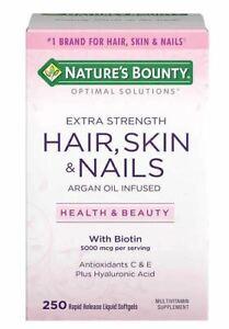 Nature's Bounty Hair, Skin and Nails, 250 Softgels Multivitamin 5000 mcg Biotin
