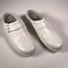 SAS Women's 7 S Narrow White Mule Clog Slip On Leather Low Heel