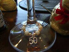 Set di 2 D'ORO ANNIVERSARIO di Vino Charms 50th Matrimonio Oro & Cream