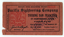 1920s PACIFIC SIGHTSEEING COMPANY San Francisco California TRAVEL Ticket AUTO