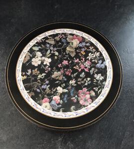 Vintage Set Of 6 Pimpernel Kilburn Round Floral/black Placemats Made In England