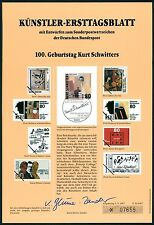 BRD KÜNSTLER-ETB 1987/16 KURT SCHWITTERS KÜNSTLER-ERSTTAGSBLATT LTD. EDITION