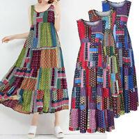Women Retro Evening Boho Dress Loose Sleeveless O-neck Printed Casual Maxi Dress