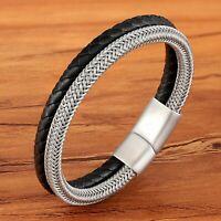 Bracelet homme femme tressé acier inoxydable fileté et cuir noir 23/21/19 cm
