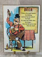 Vintage 1978 LIVING QUOTES Beer Wood Plaque - Russ Berrie & Co
