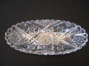 antique cut glass relish dish, oval deep cut arches,hobstars,diamond or cane/col
