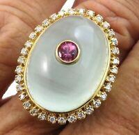 Huge Laura Ramsey 18k Gold 25.5ct Aquamarine Cabochon Tourmaline  Diamond Ring