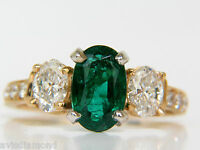 3.20ct NATURAL EMERALD DIAMOND RING CLASSIC 3 14KT +