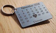Calendar - Metal Finish Laser Cut Personalised Keyring - Anniversary, Wedding