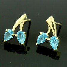 9ct Gold Cubic Zirconia Pear Stud Earrings Hand MADE IN UK -Free Box -Birthday