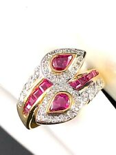 14K SOLID YELLOW GOLD .68 CTW PEAR RUBY 42 PAVE DIAMOND HALO BYPASS RING SZ 6.5
