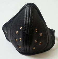 Real Leather Black Retro Face Mask Hand Made for Open Face Motorcycle Helmet