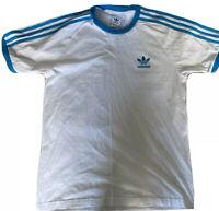 Mens Adidas Originals T-shirt - Size Medium - White / Blue Stripe - RRP £39.99