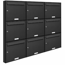 9er Premium Wand Briefkasten Anthrazit RAL 7016 9 Fach A4 Postkasten design A4