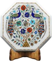 """12"""" Multi Stone Floral & Peacock Inlay Marble Coffee Table Top Garden Decor W492"""