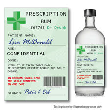 Personalised RUM Prescription bottle label Sticker Birthday Christmas Gift 137
