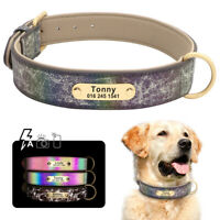 Leather Personalized Dog Collar Custom Engraving with Dog Name and Phone Number