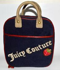 JUICY COUTURE blue terry cotton medium make up bag travel case, lots of zippers