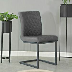 Set of 2 Upholstered Soft Diamond Stitch Quilted Dining Chair Seat - Grey