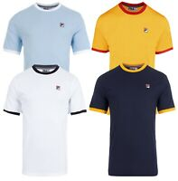 FILA Retro Marconi Crew Neck Plain Ringer T-Shirt Sports Top Casual Tee
