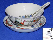 Chinese Rice Noodle Soup Bowl Stand & Spoon PRC Porcelain Butterfly Decoration