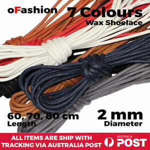 Wax Shoelace Round Waxed Laces 2mm For Dress Shoe Boot Sneakers Coloured Unisex