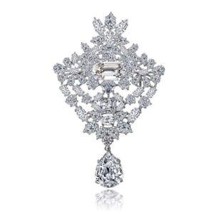 Made Using Swarovski Crystals The Gracely Elegant Silver Brooch $278 S11