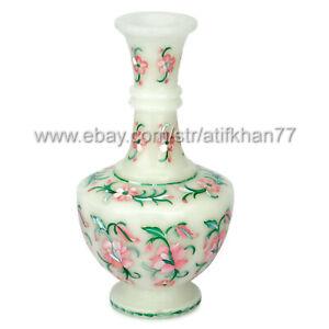 Handmade Pink Flower Bud Vase Vintage Flower Vase Marble Inlay Flowers Pot