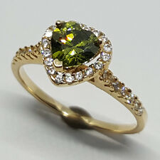 14K solid yellow gold heart shape faceted Peridot & white Topaz wedding ring