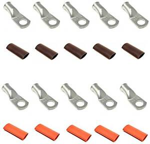 UL Tinned Copper Cable Lug End Terminal Ring Connectors + Adhesive Shrink Tubing