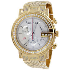 Gucci Diamond Watch YA101339 101 G Round White Chronograph 44mm Iced Out 9 Ct.