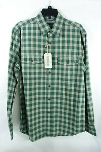 Men Shirt Small Outdoor Life Button Front Western Green Canvas