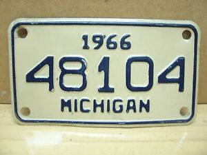 Vintage 1966 Michigan MI Motorcycle Scooter License Plate Tag