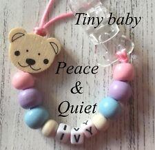 Personalised dummy clip 💗 Manichino di legno CATENA 💗 💗 prematura 💗 Tiny Baby 💗 Ragazza 💗 #PWP