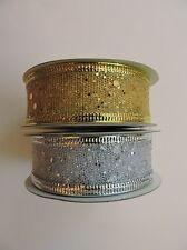 Shiny Glitter Dot Golden Silver Border Net Ribbon Roll : 2 roll