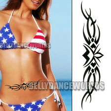 22.7 CM LONG STOMACH BELLY LOWER BACK HIP TEMPORARY TATTOO LOTUS FLOWER STICKER